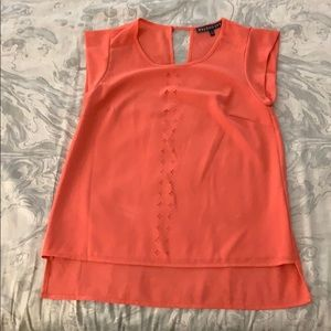 Coral high low blouse with cutout in back